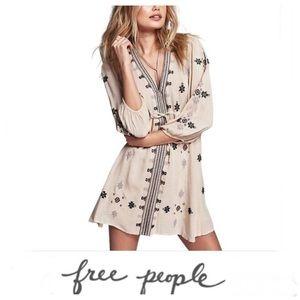 FREE PEOPLE Beige Stargazer Embroider Dress Sz S